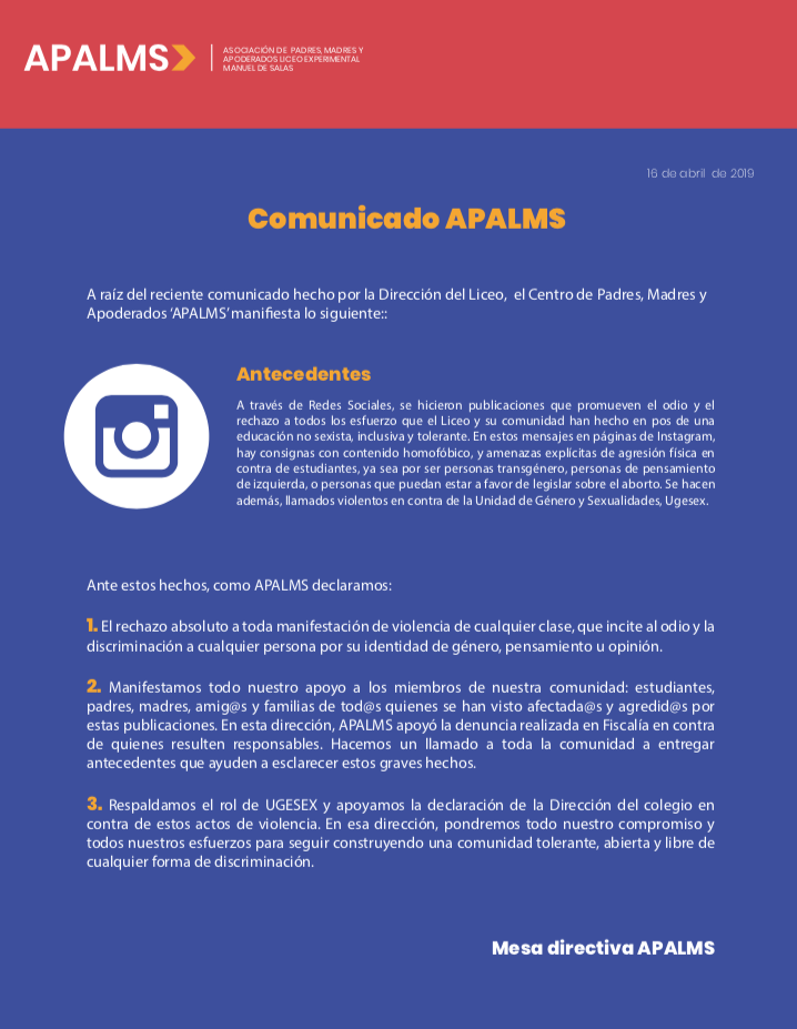 Comunicado Apalms