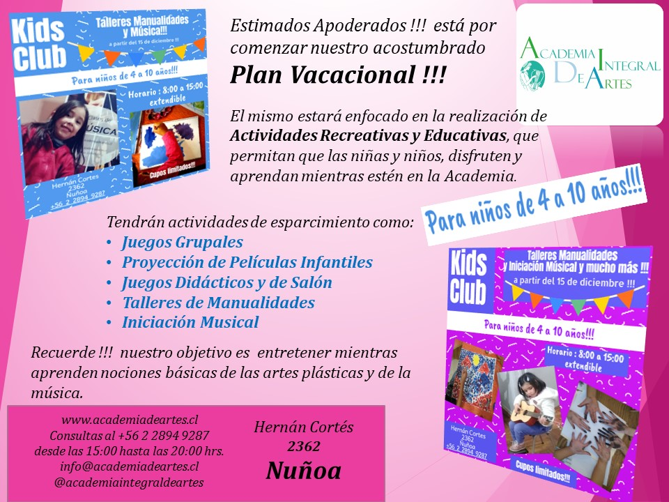 Kids Club – Plan Vacacional